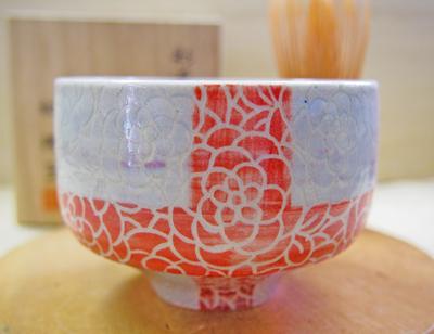 画像1: 紋花彩泥掻落 抹茶茶碗クロス (紫×赤) 【nicorico】 (1)