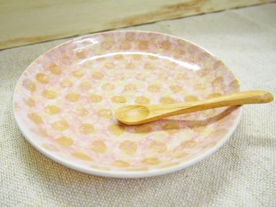 画像1: マルチカラードット 中皿 (ピンク×黄) 【nicorico】 (1)