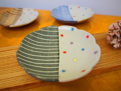画像1: ハーフ&マルチドット 豆皿(緑) 【nicorico】 (1)