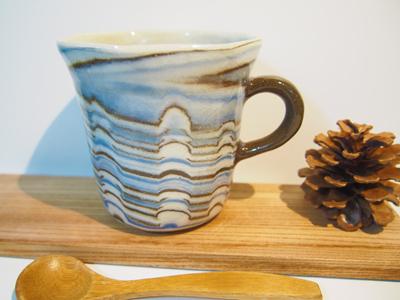 画像1: 練上マーブルマグカップ 【甲和焼 芝窯】 (1)