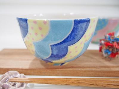 画像1: 波文ごはん茶碗・鉢(青) 【nicorico】 (1)