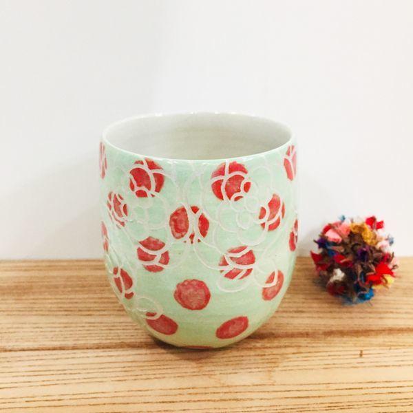 画像1: 紋花彩泥掻落 フリーカップ(ドット/若草) 【nicorico】 (1)