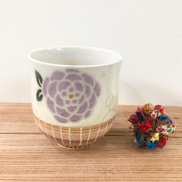 画像1: 紋花彩泥 ゆのみ(紫) 【nicorico】 (1)