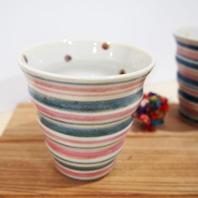 画像1: しましま×水玉 naminami cup (ピンク×緑) 【nicorico】 (1)