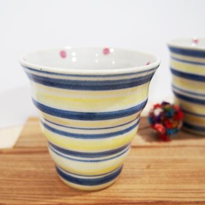 画像1: しましま×水玉 naminami cup (青×黄色) 【nicorico】 (1)