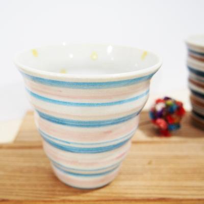 画像1: しましま×水玉 naminami cup (水色×ピンク) 【nicorico】 (1)