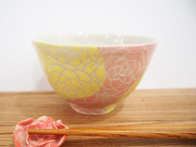 画像1: 紋花彩泥掻落 ごはん茶碗 (ピンク×ライムイエロー) 【nicorico】 (1)