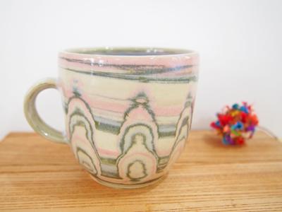 画像1: 練上マーブルマグカップ (丸型)2【甲和焼 芝窯】 (1)