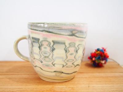 画像1: 練上マーブルマグカップ (丸型)1【甲和焼 芝窯】 (1)