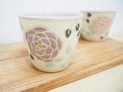 画像1: 紋花彩泥焼〆 ちびカップ(ピンク×紫) 【nicorico】 (1)