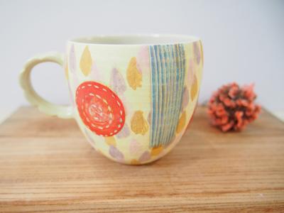 画像1: しずく紋 マグカップ(赤×水色) 【nicorico】 (1)