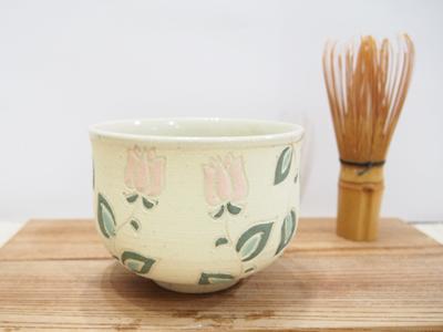 画像1: 紋花彩泥焼〆 野点茶碗(小さい花)2 【nicorico】 (1)