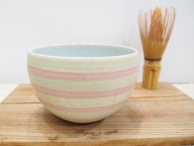 画像1: しましまマット 抹茶茶碗(薄黄×ピンク) 【nicorico】 (1)