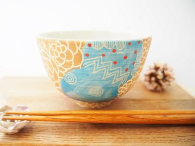 画像1: カラフルごはん茶碗 (水色×黄土色) 【nicorico】 (1)