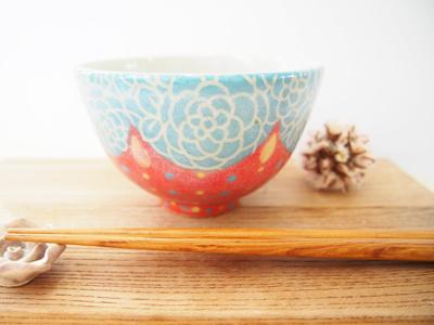 画像1: カラフルごはん茶碗 (水色×赤) 【nicorico】 (1)