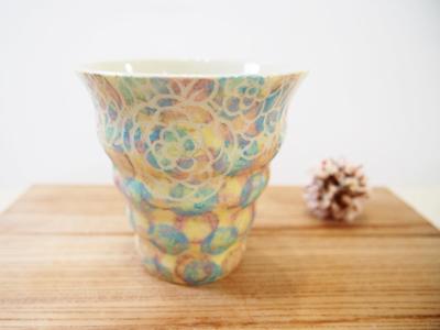 画像1: 紋花彩泥掻落カラフルドット naminami cup(ピンク×水色) 【nicorico】 (1)