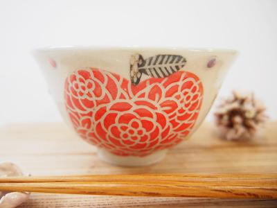 画像1: 赤りんご ごはん茶碗(小) 【nicorico】 (1)