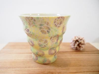 画像1: 紋花彩泥掻落カラフルドット naminami cup(紫×若草) 【nicorico】 (1)
