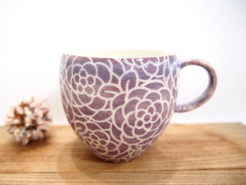 画像1: 紋花彩泥掻落 マグカップ (丸・紫)【nicorico】 (1)