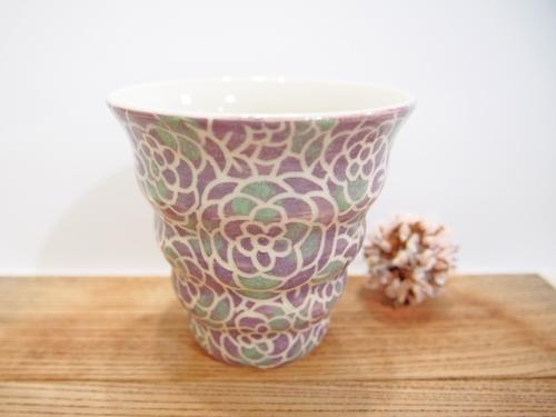 画像1: 紋花彩泥掻落ドット naminami cup(紫×若草) 【nicorico】 (1)