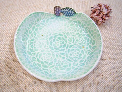 画像1: 青りんご取皿 【nicorico】(ほくろ有の為100円引) (1)