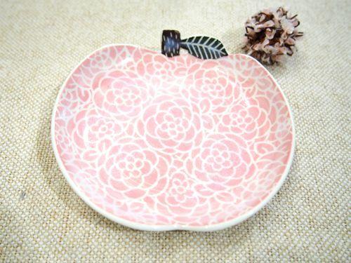 画像1: ピンクりんご取皿 【nicorico】 (1)