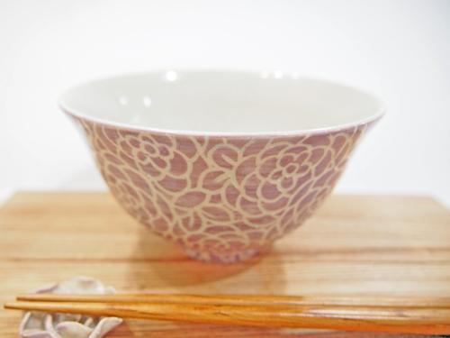 画像1: 紋花彩泥掻落 ごはん茶碗 (紫) 【nicorico】 (1)