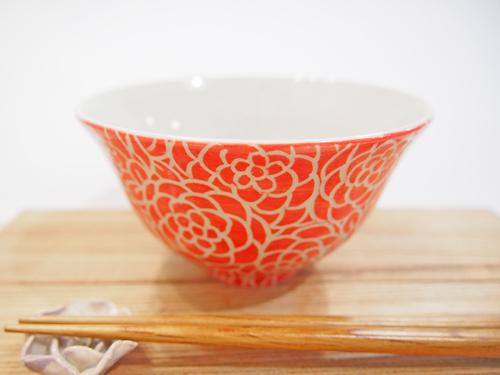 画像1: 紋花彩泥掻落 ごはん茶碗 (赤) 【nicorico】 (1)