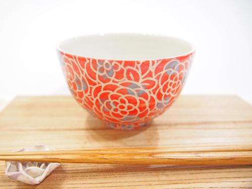 画像1: 紋花彩泥掻落ドット ごはん茶碗 (赤×水色) 【nicorico】 (1)