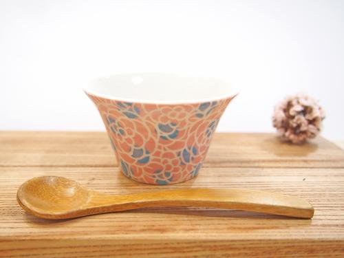 画像1: 紋花彩泥掻落ドット 豆鉢(ピンク×水色) 【nicorico】 (1)