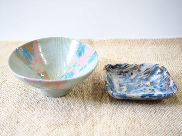 画像1: 【おうち時間セット-24】練込花文ごはん茶碗&豆皿2【甲和焼芝窯】 (1)