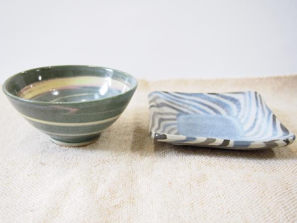 画像1: 【おうち時間セット-21】練上ごはん茶碗&練込取皿2【甲和焼芝窯】 (1)