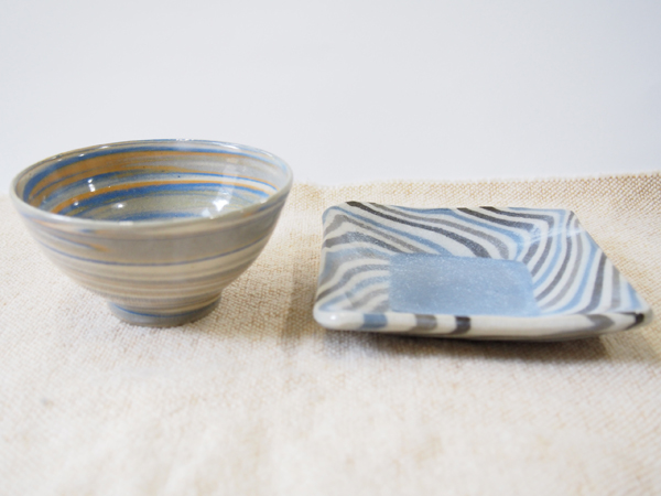 画像1: 【おうち時間セット-22】練上ごはん茶碗&練込取皿3【甲和焼芝窯】 (1)