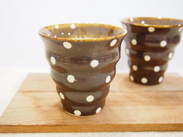画像1: チョコレート色のドット naminami cup 【nicorico】 (1)