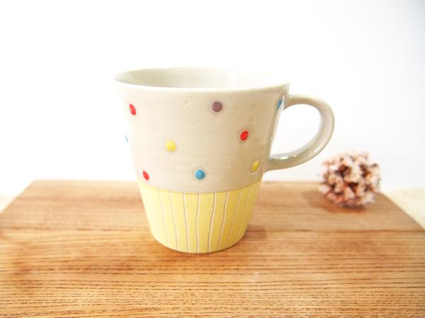 画像1: ハーフ&マルチドット マグカップ(ライムイエロー)【nicorico】 (1)