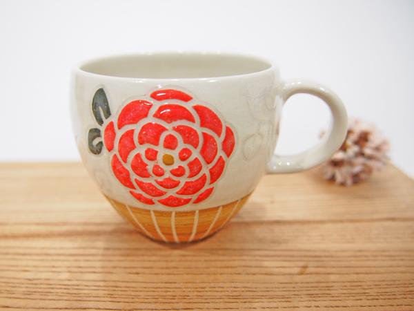 画像1: 紋花彩泥 マグカップ(丸/赤) 【nicorico】 (1)
