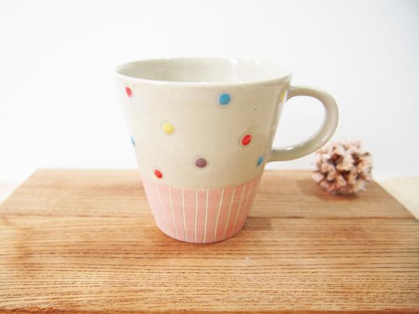 画像1: ハーフ&マルチドット マグカップ(薄ピンク)【nicorico】 (1)