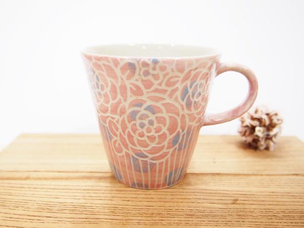 画像1: 紋花彩泥掻落ドット マグカップ (濃ピンク×水色)【nicorico】 (1)