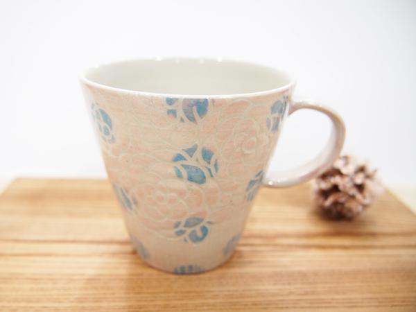 画像1: 紋花彩泥掻落ドット マグカップ (薄ピンク×水色)【nicorico】 (1)
