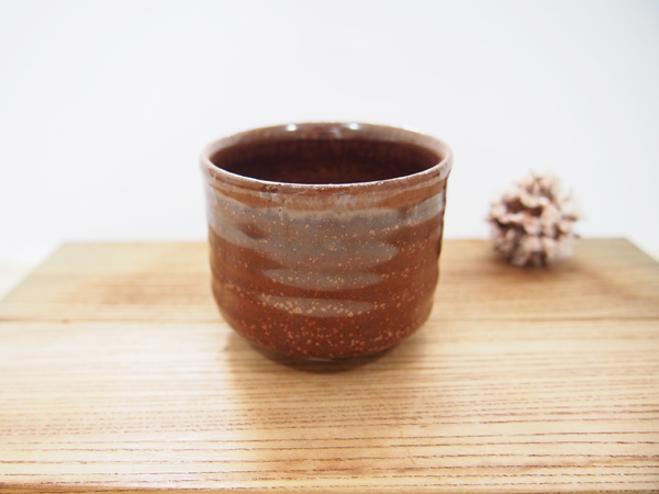 画像1: 柿釉 ぐい吞み2 【甲和焼芝窯】 (1)