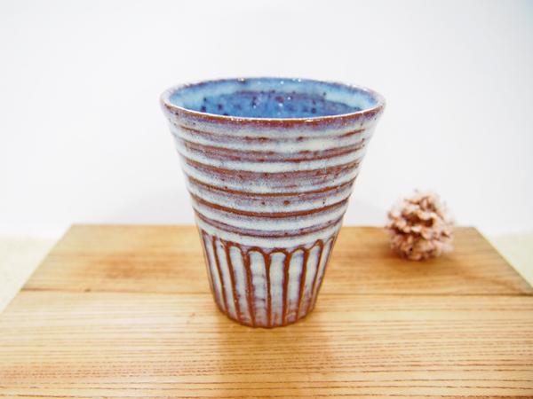 画像1: 甲和土青釉 ビアマグ(少し高さ低め)【甲和焼 芝窯】 (1)