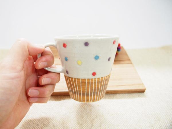 画像1: 【訳アリ】ハーフ&マルチドット マグカップ(茶)【nicorico】※取っ手に土の縮れ有の為300円引き (1)