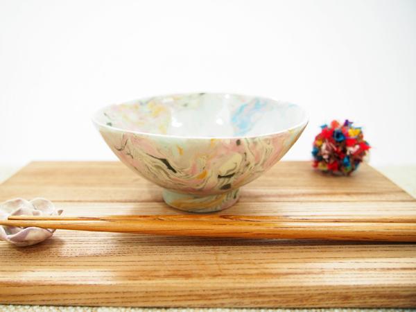画像1: 練込マーブル ごはん茶碗1  【甲和焼 芝窯】 (1)