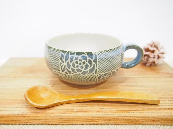 画像1: 紋花彩泥掻落 線文スープカップ(緑) 【nicorico】 (1)
