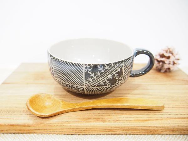 画像1: 紋花彩泥掻落 線文スープカップ(黒) 【nicorico】 (1)