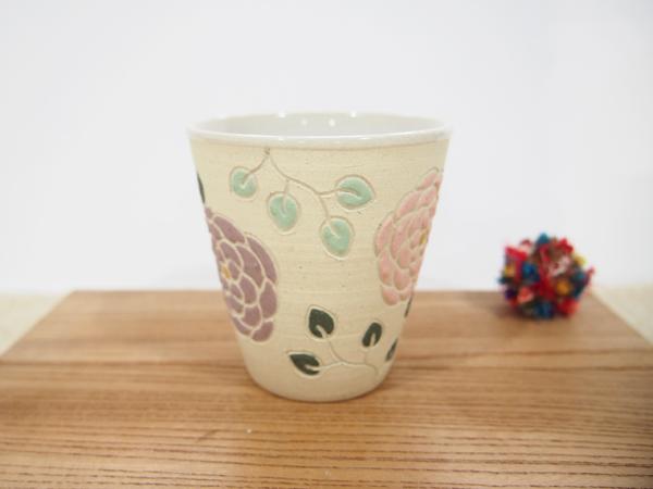 画像1: 紋花彩泥焼〆 フリーカップ(薄ピンク×紫) 【nicorico】 (1)