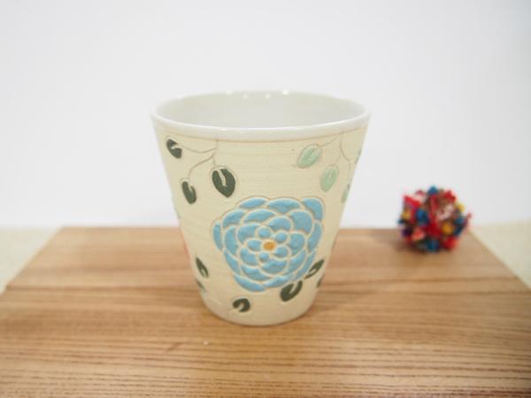 画像1: 紋花彩泥焼〆 フリーカップ(濃ピンク×水色) 【nicorico】 (1)