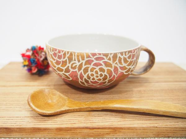 画像1: 紋花彩泥掻落ドット スープカップ (甲和土×赤) 【nicorico】 (1)