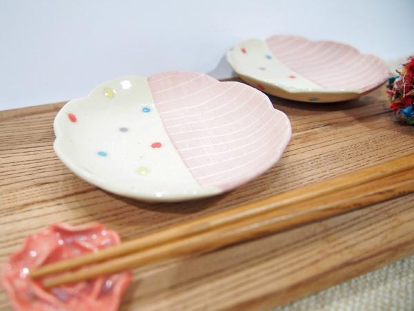 画像1: ハーフ&マルチドット 豆皿(薄ピンク) 【nicorico】 (1)