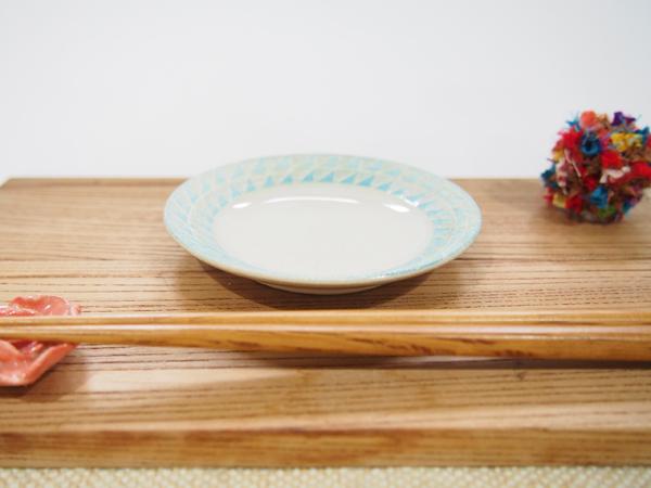画像1: 幾何学豆皿3 (水色)【nicorico】 (1)